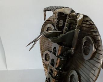 recycled metal snake-metal cobra-snake-cobra-metal sculpture-sculpture-metal art-steampunk cobra