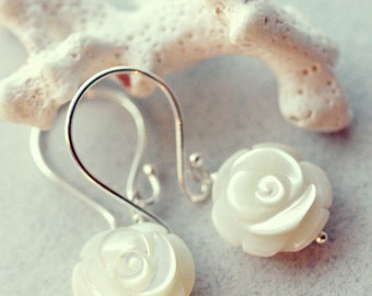 Natural Mother of Pearl - Carved Roses - Sterling Silver Earrings -