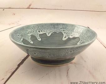 Ceramic Serving Bowl - Handmade Stoneware - Salad Server - Fruit Bowl - Bridal Shower Gift - Blue Green / Frothy Rim - Ready to Ship  b385