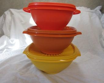 Three Vintage Tupperware Bowls (Tight Burp Lids 1970,s)New Condition.