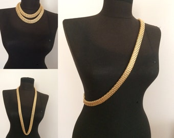 gold body chain, body harness, gold long necklace, body jewelry,
