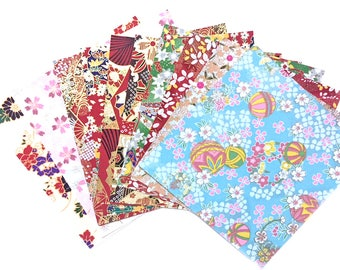 Scrap Pack - Japanese rice and origami paper ephemera, paper with beautiful golden print 4