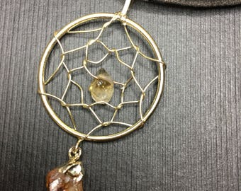 Dream catcher gold plated - Citrine with real 60cm leather necklace Gift Box Incl.