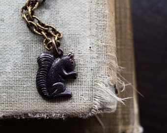 Brown Squirrel Patina Charm Necklace