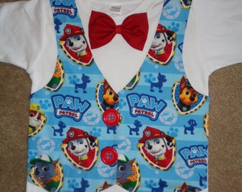 Puppies on Patrol Vest with Bow Tie Shirt