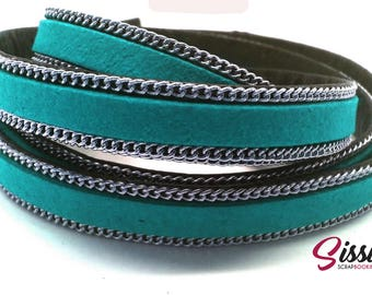 20cm cord flat leather suede turquoise chain bracelet creating 10 x 2.8 mm