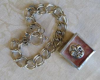Soldered Charm Shadowbox Bracelet Charmed Vintage PINK FLEUR de LIS