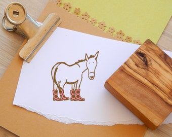 Donkey in Wellie Boots Olive Wood Stamp