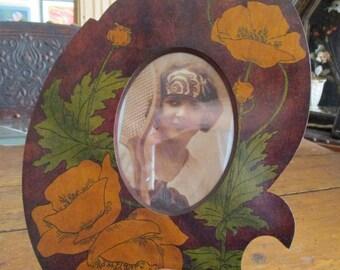 Antique Art Nouveau Frame Poppies Folk Art Unusual