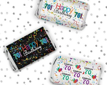 Happy 70th Birthday Mini Candy Bar Sticker Wrappers - 70th Birthday Colorful Favors - Celebrate 70 Sticker - 54 Count