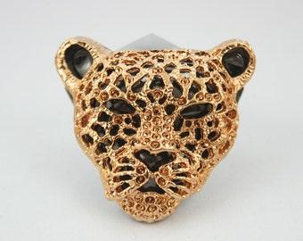 2 pcs. Zinc Dark Gold Jaguar Leopard Head Studs Leather Craft Decorations Findings.