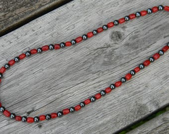 Red Glass and Hematite Necklace