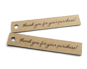 60 Count - Thank You for Your Purchase - Kraft Tag - Hang Tags - 3.0 x 0.5 in - Kraft Tags - Shop Tags - Merchandise Tags - Jewelry Tags TY4