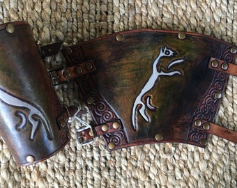 Celtic Uffington Horse Leather Bracers - Green and White Coloured