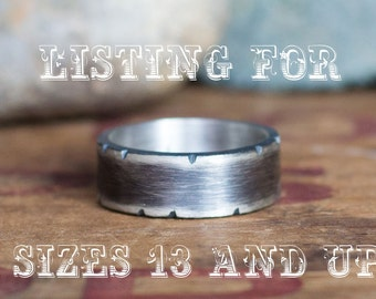 Men's Rustic Wedding Band, 8mm Band, LARGER SIZES Men's Wedding Band, Heavy Silver Ring, Personalized Wedding Band, Plus Size Wedding Band