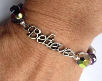 Believe Bracelet, Swarovski Bracelet, Rainbow Bead Bracelet, Inspirational Bracelet, SALE
