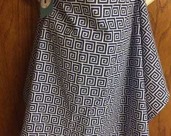 Nursing Cover - Navy and White Geomtric Print