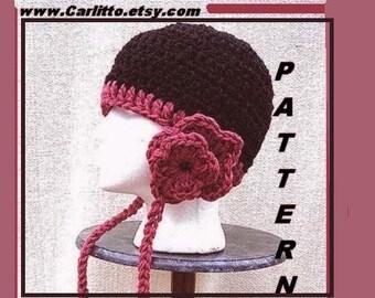 crochet hat pattern num. 32, Crochet for Beginners.... FLOWER-POWER Earflap hat, instant download