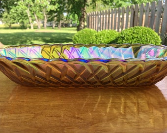 Vintage Carnival Indiana Glass wicker-look bread, candy, nut, serving dish