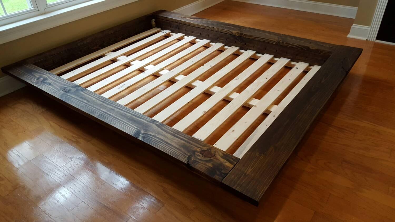 floating platform bed wide ledge bed loft bed low profile - 🔎zoom