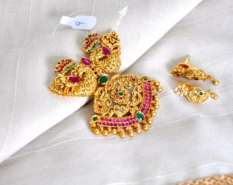 SALE 50% OFF Antique nagas pendant set with ruby and emerald stones and matching earrings Indian Jewelry, Indian Necklace