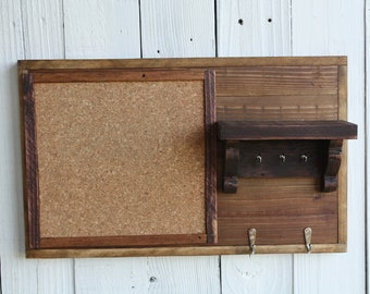 Entryway Organizer with Hooks, Shelf, Corkboard, Bulletin Board, Message Center, Salvaged Wood, Carved Wood Corbels
