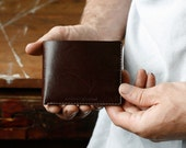 Mens Leather Wallet, Classic Bifold, Gift for Him, Personalized, Kangaroo Leather, Handmade, Australian, Front Pocket Wallet, Walnut Brown