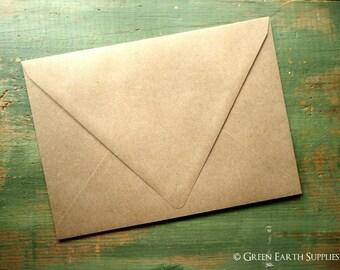 "25 A1 Euro Flap Kraft Envelopes: triangular triangle contour flap, rustic kraft brown RSVP envelopes, grocery bag 3 5/8"" x 5 1/8"" (92x130mm)"