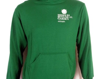 vtg 80s soft thin Green Hoodie Sweatshirt Missouri Botanical Garden Staff sz L