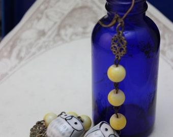 Yellow and Grey Ceramic Owl Dangle Earrings