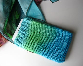 Dip Dyed Blue Green Hand Knit Cell Phone Cover, IPhone Cover, Galaxy, Cell Cosy, Sleeve Style Cell Phone Cover Case, Cell Phone Sweater