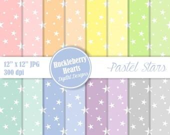 Pastel Stars Digital Paper, Pastel Stars Scrapbook Paper, Star Paper, Printable Paper