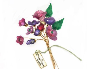 Deep Purple and Translucent Pink with Green Leaves Lampwork Headpin Bouquet. Set of 12 headpins.
