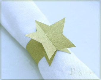 Paper Napkin Rings , Glitter Gold Star Napkin Rings, Napkin Holder, Wedding Table Decor Holiday Table, Gold Star Party Set of 10 Gold STD05