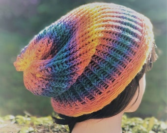 Teen/Adult Lightweight Knitted Baggy Beanie with Gorgeous Rainbow Colours. Perfect for Summer festivals.
