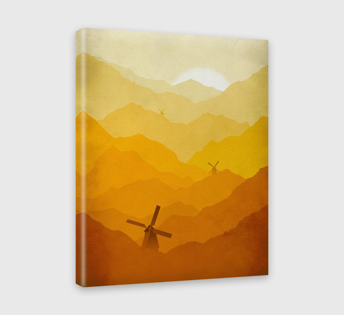 Orange Nursery Decor Canvas Print Kids Wall Art Windmills