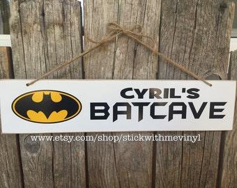 Batcave sign, BATMAN sign, batcave decor, personalized batcave, batman sign, batman decor, batman bedroom, batcave wall hanging, batcave