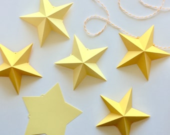 3D Star Garland Template / Cutting File (SVG & DXF)