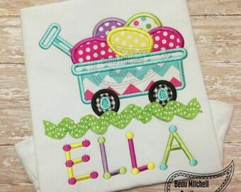 Easter Egg Wagon Ric-Rac applique embroidery design