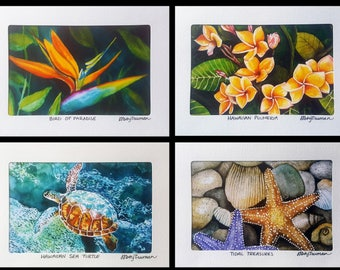 SET of Hawaii Tropical Greeting Cards, Handmade Watercolor Fine Art Cards, Bird of Paradise, Plumeria, Starfish Beach, Sea Turtle, Nature 4