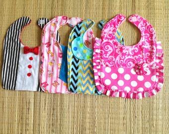 Bib Sewing Pattern, Baby Bib Pattern, Boy's and Girl's Bib Pattern, Four-in-One Pattern