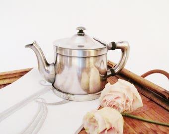 Benediici Indestrusto, Vintage Hotel Silver Teapot, Silver Soldered Teapot for One, Hotel Silver
