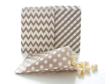Party Favor Bags, Silver Treat Bags, Wedding Goody Bags, Party Favor Sacks, 75 Pack - Silver Stripe, Chevron & Polka Dot Bags
