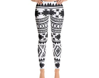 Aztec Tribal Yoga Leggings Yoga Leggings - Workout Leggings - Colorful Leggings - Fun Tights - Festival Leggings - Running Leggings - Yoga P