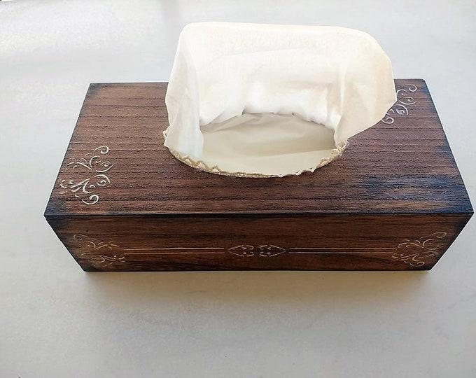 Wood Tissue Box Holder, Wooden Napkin Box Cover, Paper Towel Box, Kleenex Holder. Bedroom & Bathroom Decor or Gift. Decoupage Craft Supplies