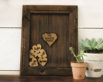 Heart Drop Frame,Wooden Family Frame,Valentines Day Gift,Boho home decor,Foster Family,Foster Family Gift,Annivery gift,5th year anniversery