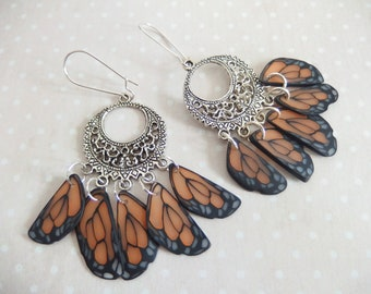 Earrings creole print in the wings of butterfly jewelry spirit Native American version 4