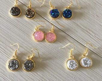 Druzy fish hook earrings/faux druzy earrings/druzy stone/dangle earrings/gold earrings