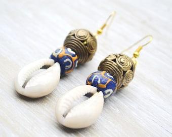 Afrocentric Earrings, Ghana Brass Earring, Cowrie Shell Jewelry, Blue Krobo Bead Earrings