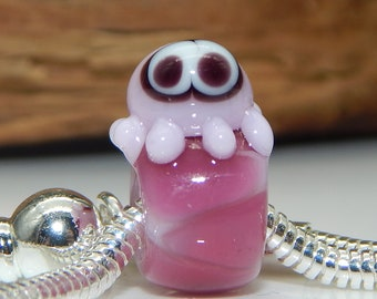 Squeedle BHB Charm Bracelet Lampwork Beads Pink Raspberry Octopus Cute Character Bead Big Hole Bead